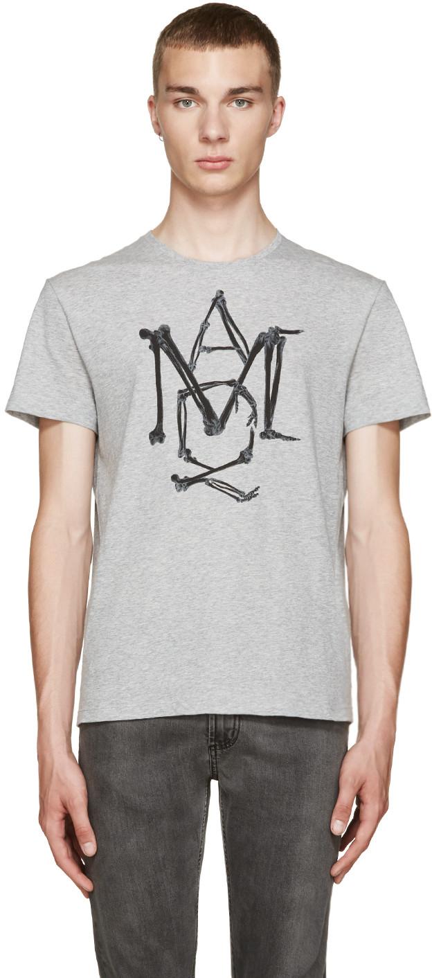 e37cbcdfb16 Alexander Mcqueen Amq Bones T-Shirt In Grey