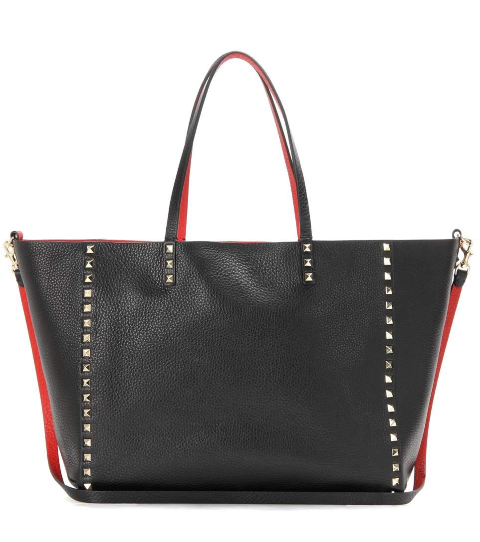 Valentino Medium Double Rockstud Reversible Tote Bag, Black/bright Cuir In Marine & Light Cuir