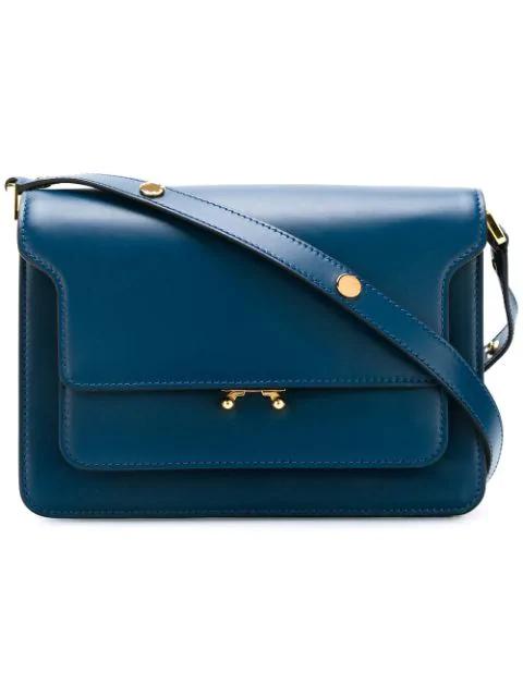 Marni Trunk Leather Shoulder Bag In Blue