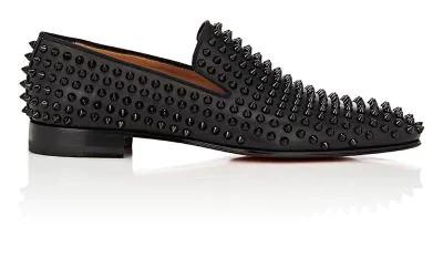 Christian Louboutin Spiked Dandelion Venetian Loafers - Black