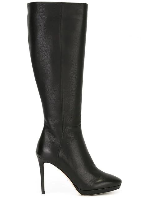 Jimmy Choo Hoxton 100 Black Grainy Calf Leather Knee High Boots