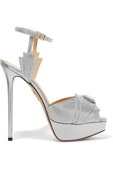 Charlotte Olympia Woman Sky Scraper Embellished Metallic Textured-leather Sandals Silver