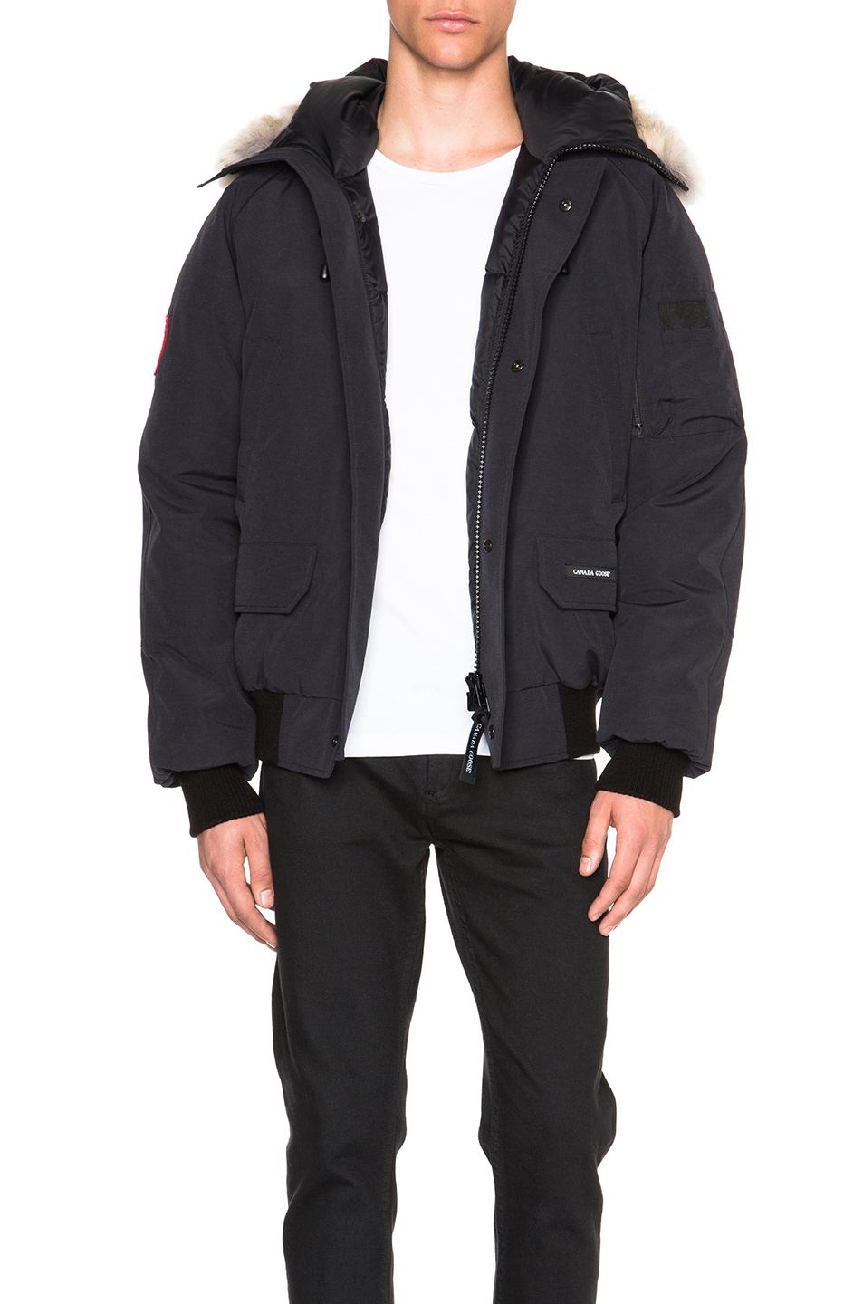 Canada Goose Chilliwack Bomber With Coyote Fur Trim In Blue