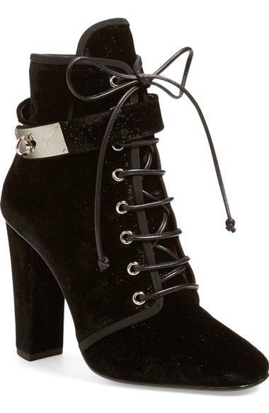 3ded5e7f79f61 Giuseppe Zanotti Lace-Up Velvet Ankle-Buckle Boot, Black (Nero ...