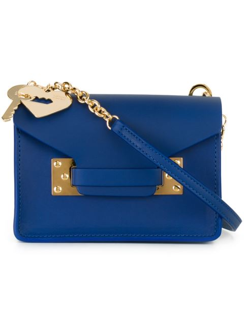Sophie Hulme Blue Nano Milner Crossbody Bag In Klein Blue/ Gold