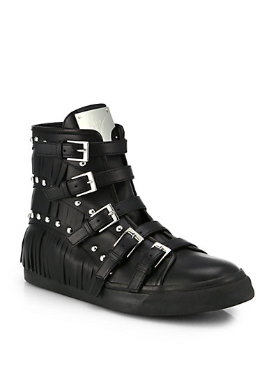 Giuseppe Zanotti Studded Leather Buckle & Fringe High-Top Sneakers In Black