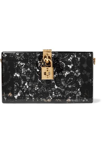 0d3fa878da Dolce & Gabbana Dolce Box Clutch In Plexiglass And Lace In Black ...