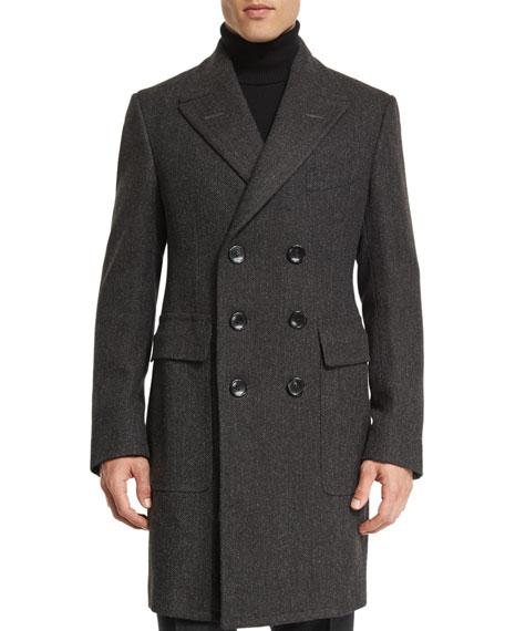 Tom Ford Classic Herringbone Double-breasted Tailored Coat In Gray