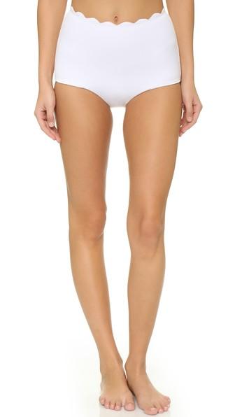 0930cb287aaa Marysia Santa Monica High-Waist Scalloped Swim Bikini Bottom In White