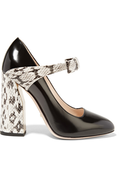 adf7652be Gucci Nimue Bow Patent Leather & Snakeskin Mary Jane Block-Heel Pumps In  Black