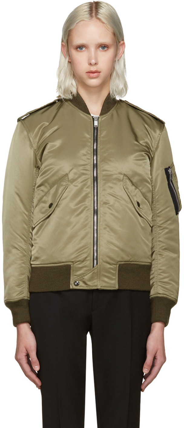 Saint Laurent Padded Satin Nylon Bomber Jacket, Military Green