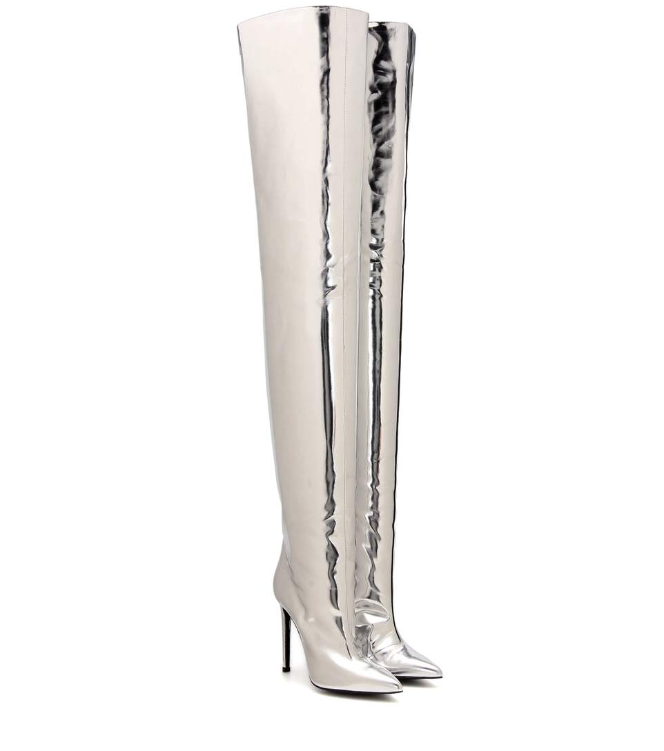 56abfa90a Balenciaga Metallic Leather Thigh-High Boot, Silver (Argento) | ModeSens
