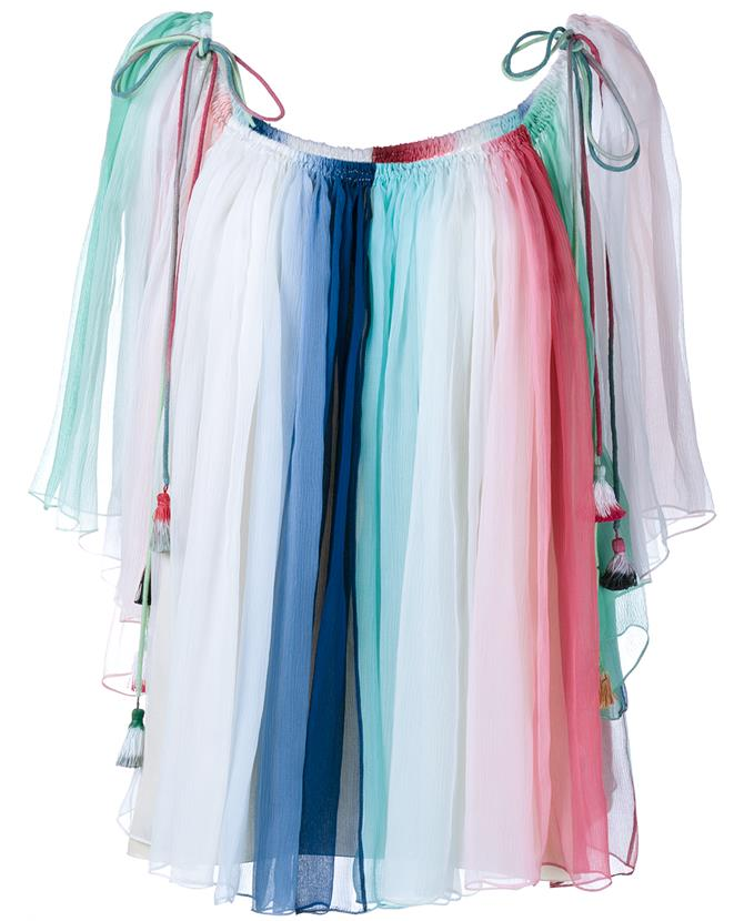 6830df8d4eb41 ChloÉ Rainbow-Striped Silk Tassel Top