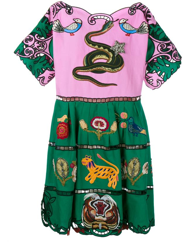 Gucci Cotton Linen Embroidered Dress In Pink Cotton Linen