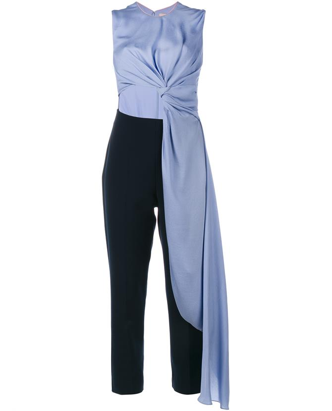 0470ceeef41c Roksanda Thurloe Cut-Out Knot-Front Crepe Jumpsuit In Lilac Navy ...