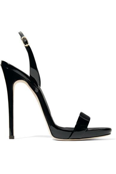 e71552d9da46a Giuseppe Zanotti Sophie Patent-Leather Slingback Sandals In Black ...