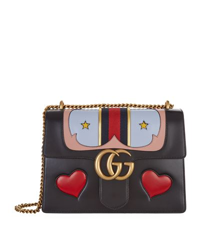 7fcc0571ce0f Gucci Gg Marmont Medium Web Heart Shoulder Bag, Black/Multi In Black Multi