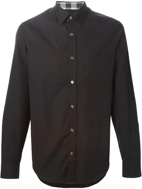 Burberry Check Detail Stretch Cotton Poplin Shirt In Black