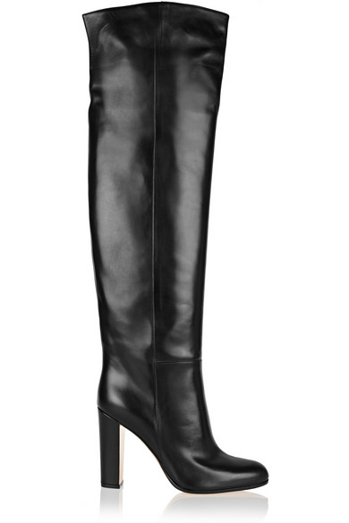 Gianvito Rossi Woman Leather Over-the-knee Boots Black In Navy