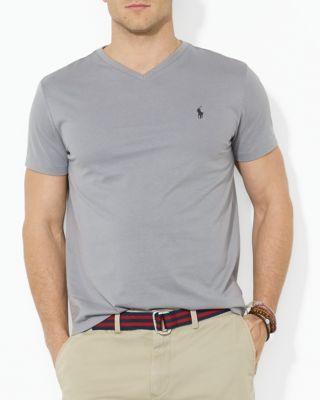 Polo Ralph Lauren Men's Core Medium-fit V-neck Cotton Jersey T-shirt In Museum Grey