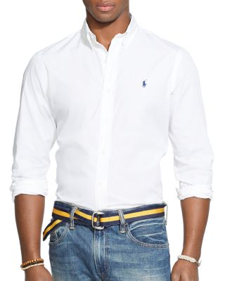 Polo Ralph Lauren Slim-fit Men's Long Sleeve Stretch Poplin Shirt In White