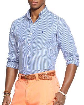 Polo Ralph Lauren Striped Poplin Button-down Shirt - Classic Fit In Blue/white