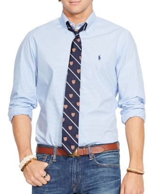 Polo Ralph Lauren Hairline-striped Poplin Button-down Shirt - Classic Fit In Blue/white