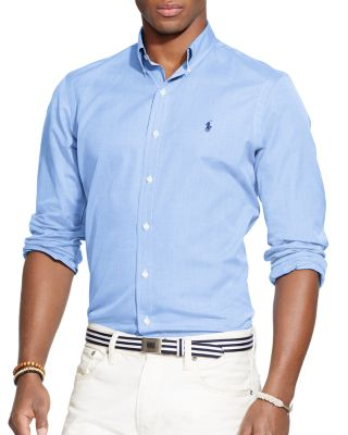 Polo Ralph Lauren End-on-end Poplin Button-down Shirt - Classic Fit In Blue