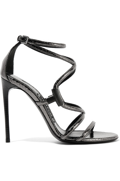 Tom Ford Woman Embellished Glossed-ayers Sandals Anthracite
