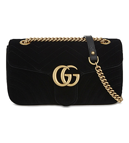9795bbfd3ae0 Gucci Small Gg Marmont 2.0 Matelasse Velvet Shoulder Bag - Black In Black  Velvet