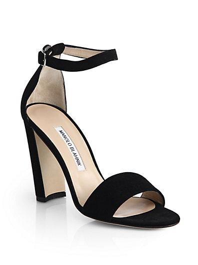 Manolo Blahnik Lauratop Lace & Leather Chunky-heel Sandal, Black