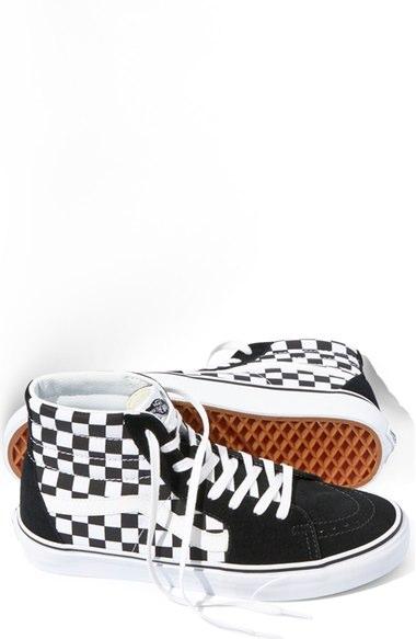 Vans 'sk8-hi' Sneaker (unisex) In Black/ True White Checkerboard