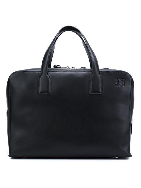 Loewe Goya Leather Holdall In Black