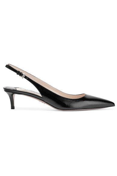 Prada Point-toe Patent-leather Slingback Pumps In Black