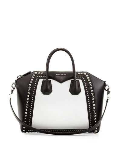 5224434e72ed Givenchy Black And White Leather  Antigona  Large Studded Convertible Tote  In Black White