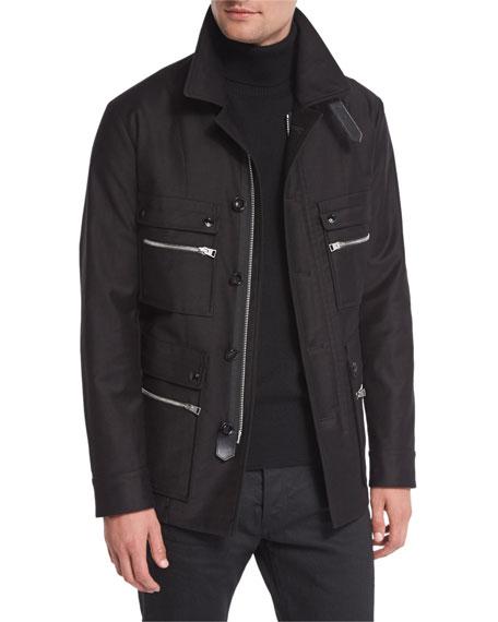 Tom Ford Satin-cotton Field Jacket, Black