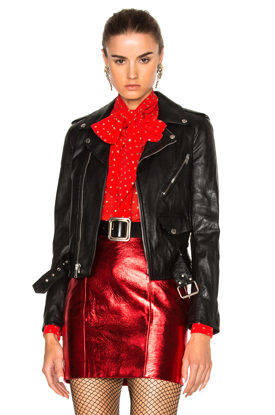Saint Laurent Classic L01 Blood Luster Leather Jacket In Black & Silver