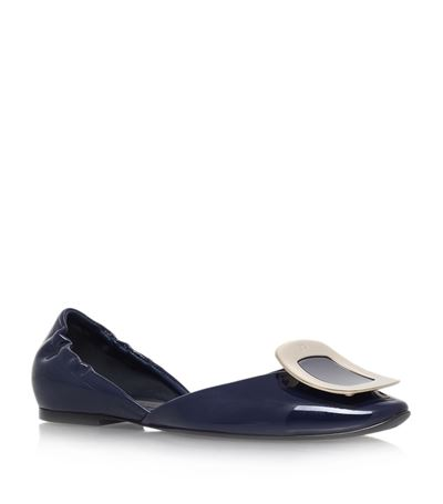 Roger Vivier Ballerine Chips Patent Leather D'orsay Flats In Navy