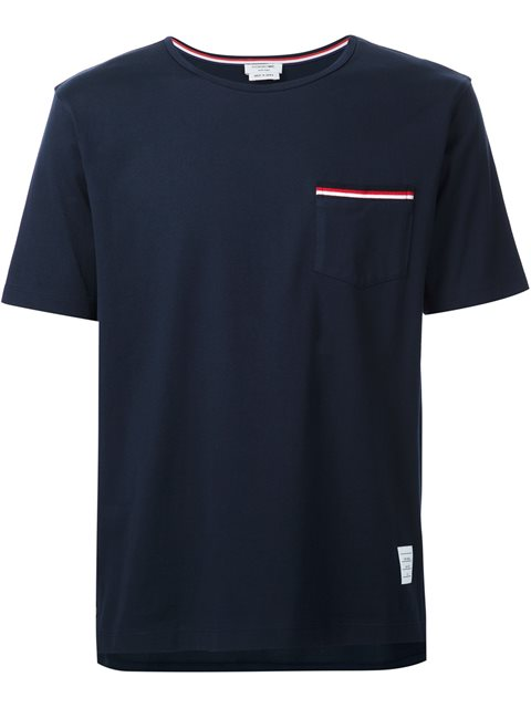 Thom Browne Tricolour-stripe Patch-pocket Cotton T-shirt In Blue