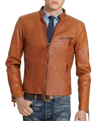 Polo Ralph Lauren Lambskin Leather Cafe Racer Jacket In Old Amber