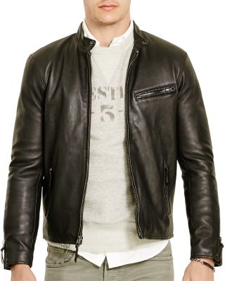 Polo Ralph Lauren Lambskin Leather Cafe Racer Jacket In Polo Black