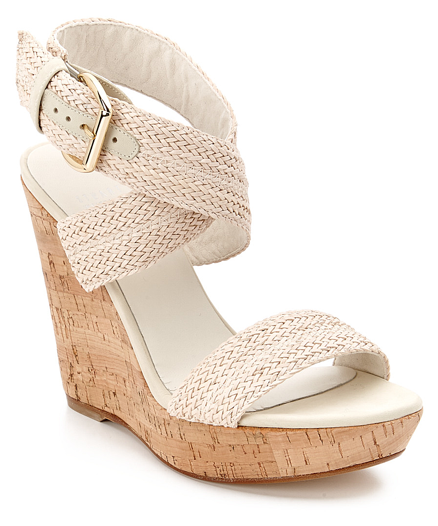 Stuart Weitzman Encore Leather Sandal In Ivory