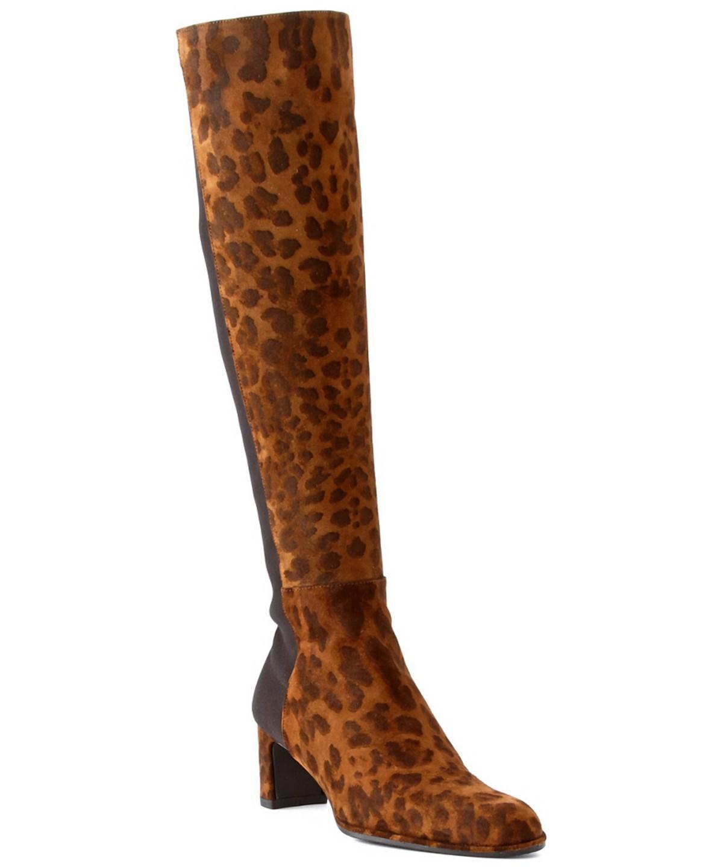 Stuart Weitzman Demi Suede Leopard-print Over The Knee Boot In Brown