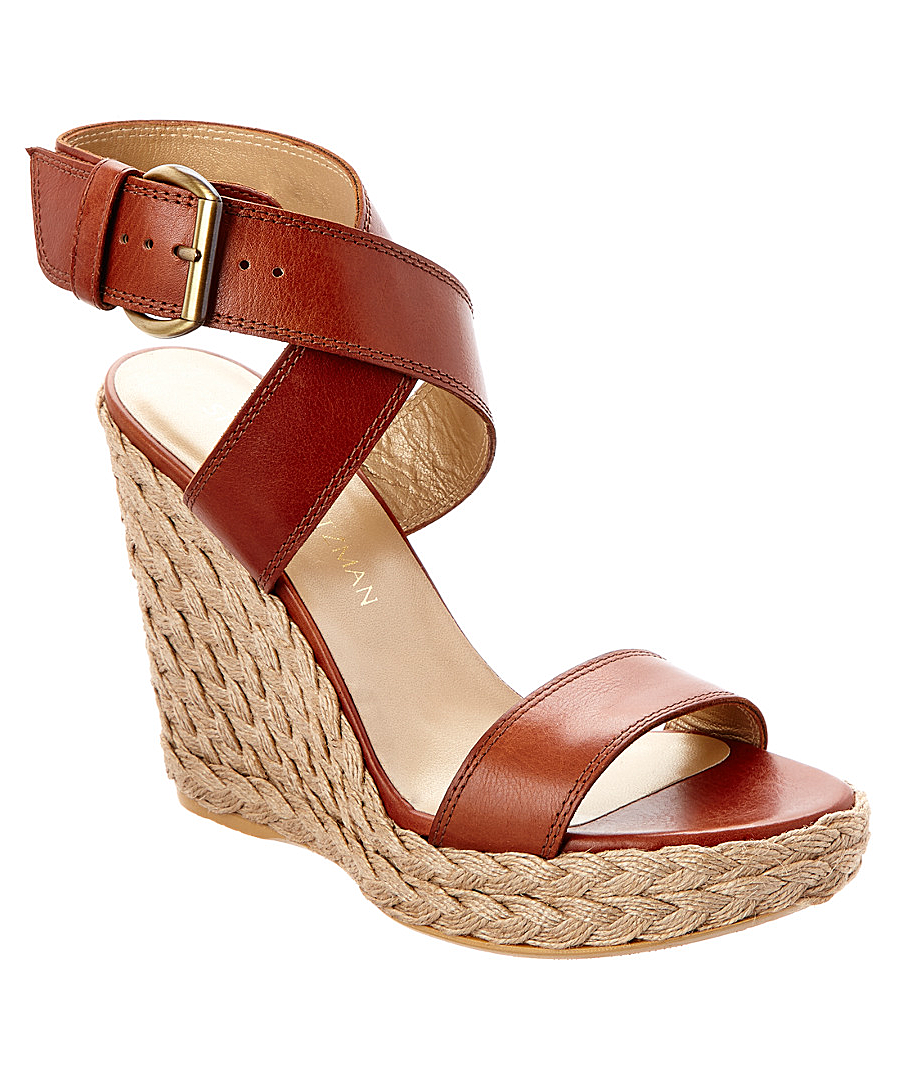 Stuart Weitzman Crossover Leather Wedge Sandal In Brown