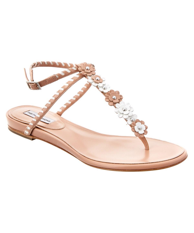 Tabitha Simmons Pyper T-bar Strap Patent Sandal In Pink