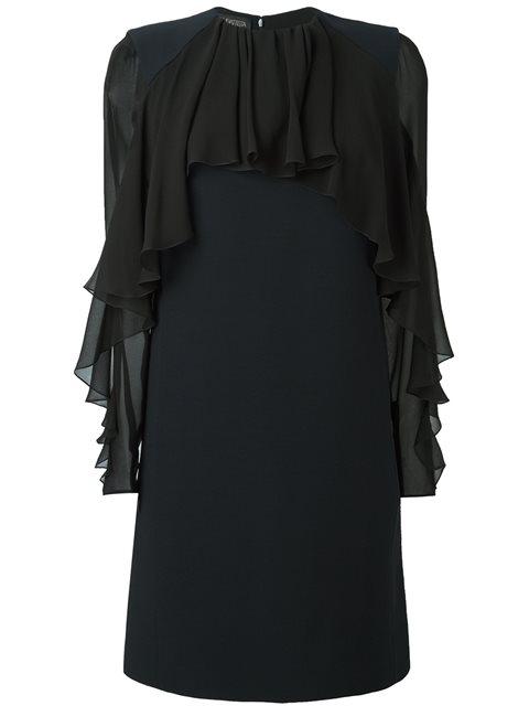 Giambattista Valli Woman Ruffled Silk-chiffon And Cady Mini Dress Navy