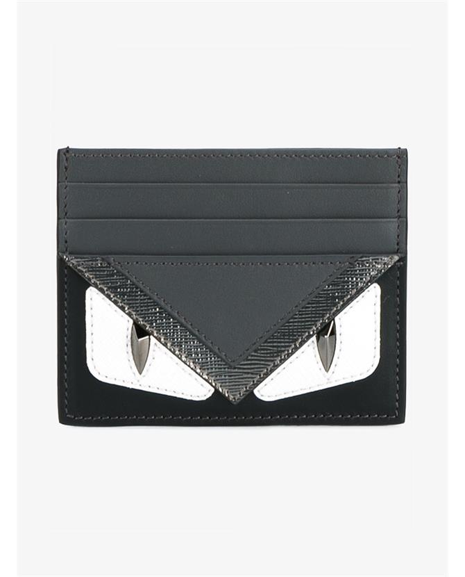 f1c8d400153d Fendi Black   Grey  Bag Bugs  Card Holder