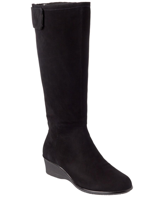 Taryn Rose Aiden Waterproof Suede Tall Boot In Black