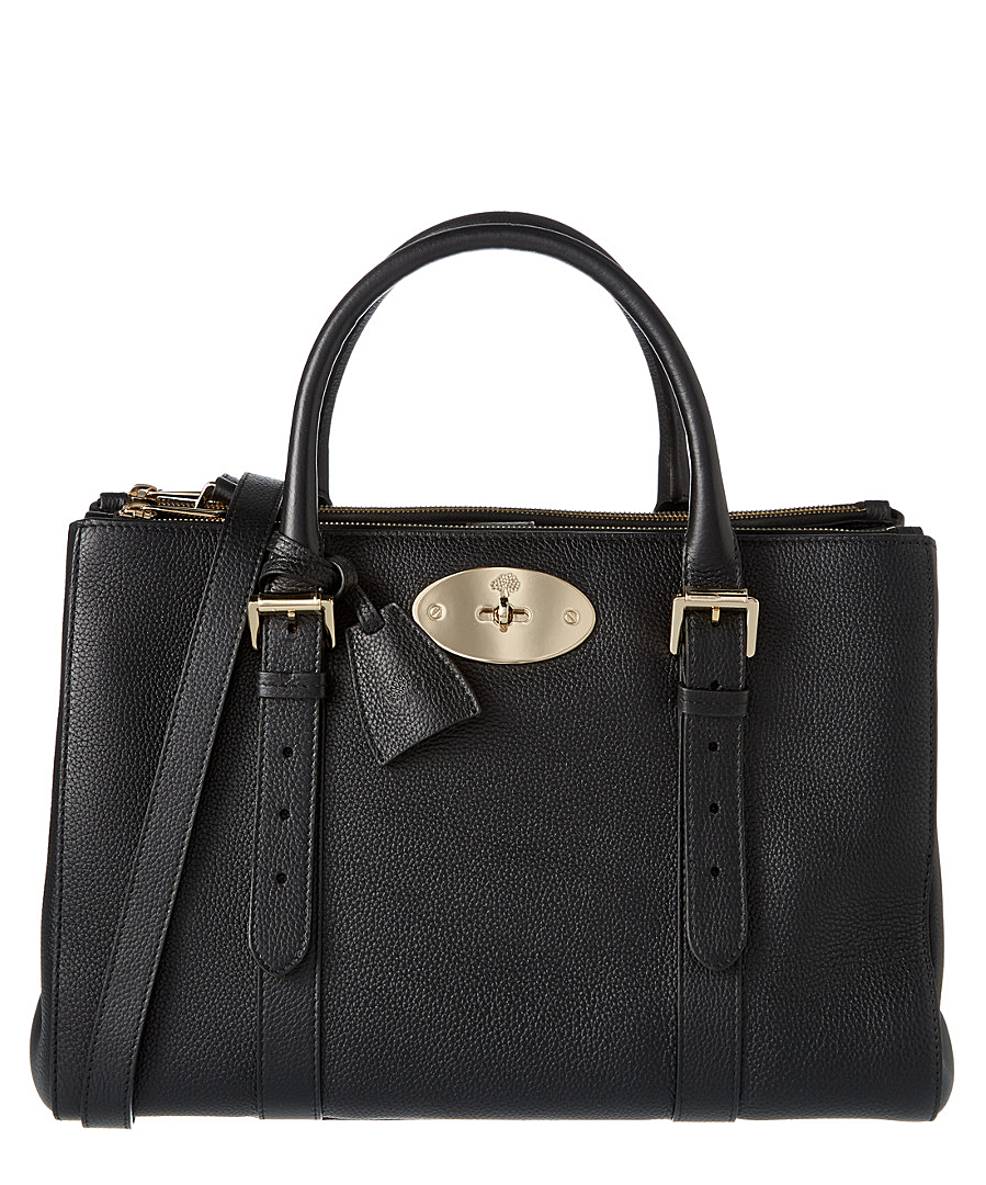 Mulberry Bayswater Small Double Zip Classic Grain Leather Tote In Black