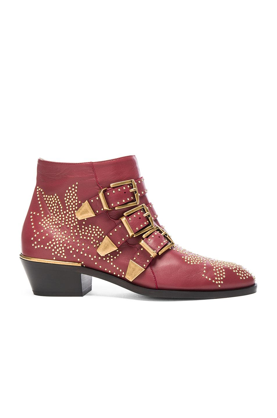 b7e50c0b CHLOE SUSANNA LEATHER STUDDED BOOTIES IN RED